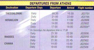 Schedule from Athens