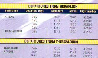 Schedule from Heraklion