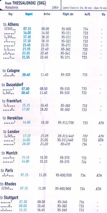 Schedule from Thessaloniki